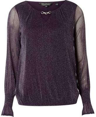 Dorothy Perkins Womens **Billie & Blossom Purple Glitter Trim Blouse