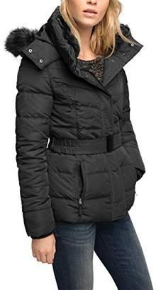 Esprit Women's Faux-Fur Hood Padded Down Jacket,(Manufacturer Size: 40)