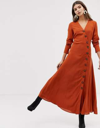 3f6b86afc0fb2 Y.A.S large button front maxi dress in rust