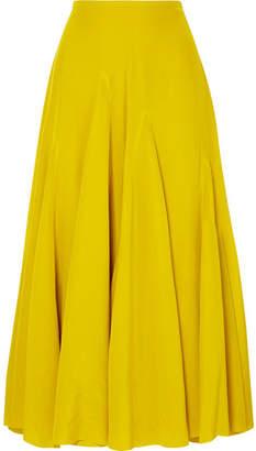 Haider Ackermann Pleated Silk Crepe De Chine Midi Skirt - Yellow
