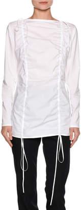 Marni Ruched Poplin Long-Sleeve Tunic, White