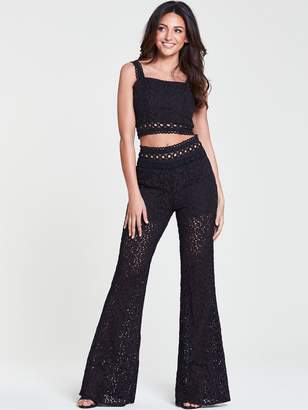 Michelle Keegan Broderie Ladder Trim Wide Leg Trouser - Black