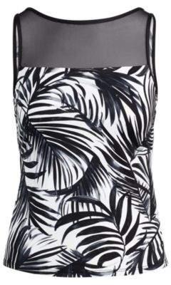 Ralph Lauren Mesh-Yoke Palm-Print Tankini Black And White 6