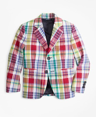 Brooks Brothers Boys Two-Button Madras Seersucker Sport Coat