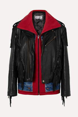 Balenciaga Layered Fringed Leather, Denim And Jersey Biker Jacket - Black