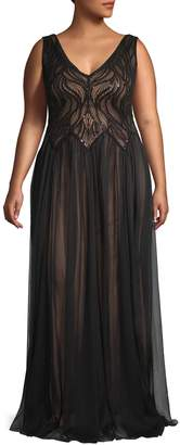 Tadashi Shoji Sequin Bodice Tulle Gown