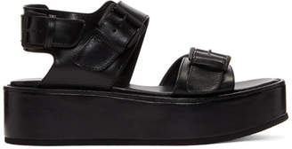 Ann Demeulemeester Black Leather Platform Sandals
