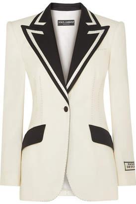 Dolce & Gabbana Two-tone Wool-blend Blazer - Ivory