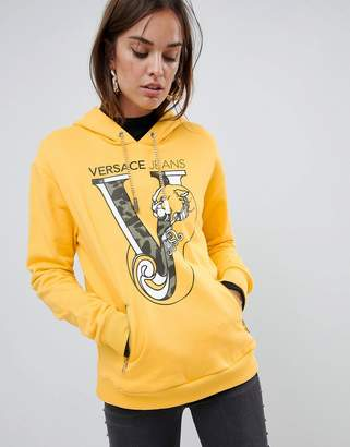 Versace leopard logo hoodie with chain detail
