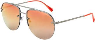 Prada Sport SPS 53S Rhodium-Tone Aviator Sunglasses