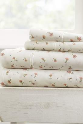 IENJOY HOME Home Spun Premium Ultra Soft Floral Pattern 4-Piece Full Bed Sheet Set - Pink