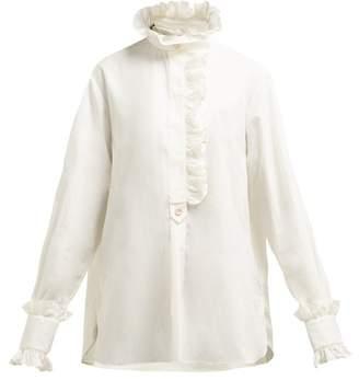 Gucci Ruffled Cotton Poplin Shirt - Womens - White