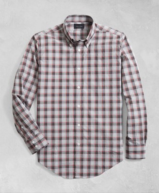 Brooks Brothers Golden Fleece Regent Fit Multi-Plaid Flannel Sport Shirt
