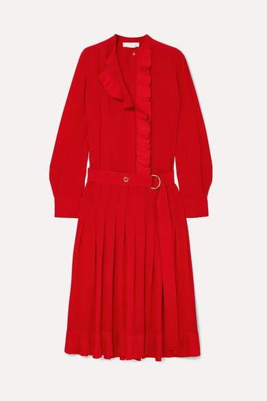 Ruffled Silk Crepe De Chine Midi Dress - Red