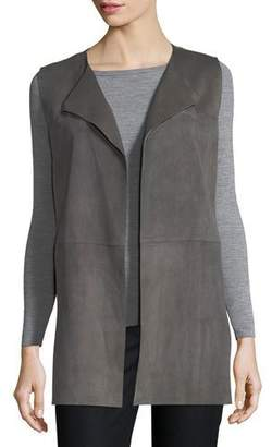 Lafayette 148 New York Tamma Suede Vest w/ Embroidered Cutout Detail