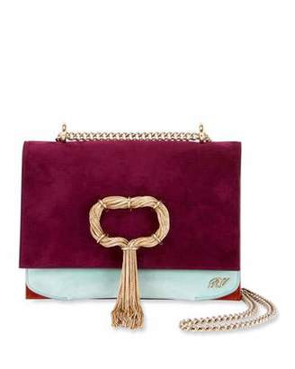 Roger Vivier Club Chain Colorblock Suede Evening Clutch Bag