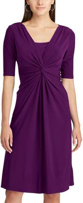 Chaps Women's Solid Knot-Front Empire Dress