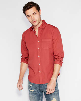 Express Slim Soft Wash Garment Dyed Poplin Shirt