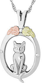 Black Hills Cat Pendant with Chain Sterling/12K