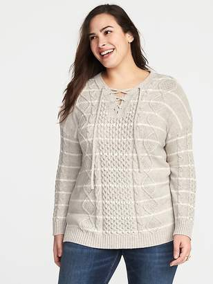 Old Navy Plus-Size Lace-Yoke Cable-Knit Sweater