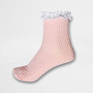 River Island Pink glitter cable knit frill ankle socks