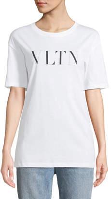 Valentino Short-Sleeve VLTN Logo Cotton Jersey T-Shirt