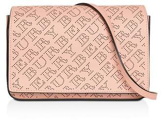 Burberry Perforated Logo Leather Convertible Crossbody