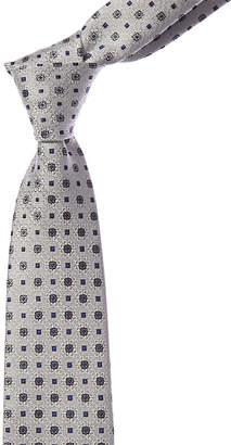 Canali Silver Floral & Square Dot Silk Tie