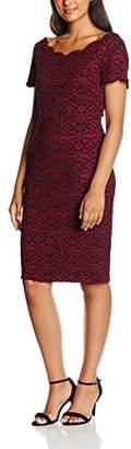 Gina Bacconi Women's Geometric Lace Dress, (Black/Red)