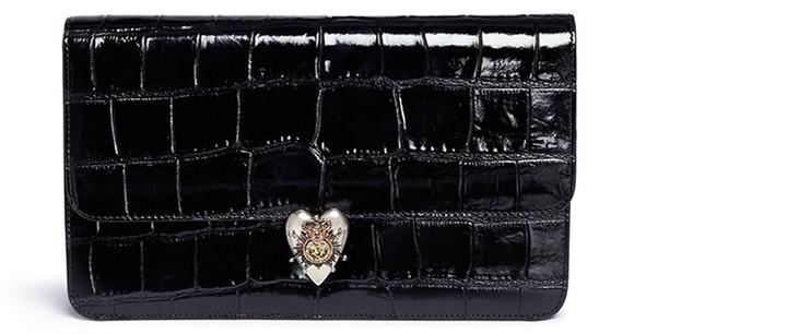 Alexander McQueenAlexander McQueen Heart frame croc embossed patent leather clutch