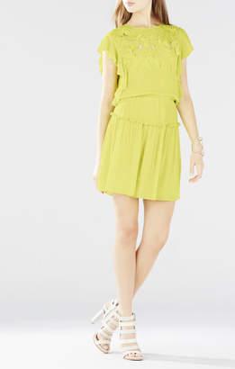 BCBGMAXAZRIA Jadie Flutter-Sleeve Blossom Embroidered Dress