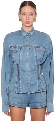 Versace Cotton Denim Jacket W/ Zips