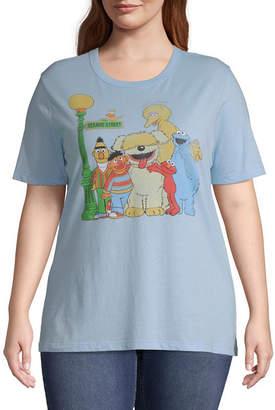 Mighty Fine Womens Crew Neck Short Sleeve Sesame Street Graphic T-Shirt-Juniors Plus