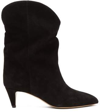 Isabel Marant Dernee Suede Ankle Boots - Womens - Black