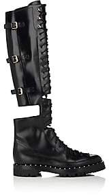 Valentino Women's Soul Rockstud Leather Over-The-Knee Combat Boots-Black