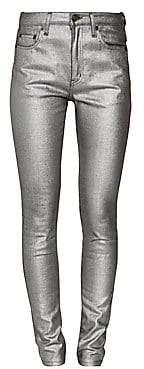 Saint Laurent Women's High-Rise Metallic Skinny Jeans