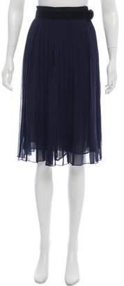 Robert Rodriguez Silk Pleated Skirt