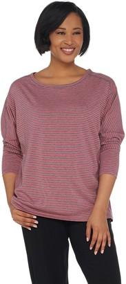 Anybody Loungewear Cozy Knit Striped Dolman Sleeve Top