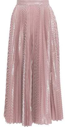 Christopher Kane Metallic Pleated Gingham Woven Maxi Skirt