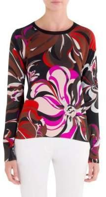 Emilio Pucci Floral Silk& Cashmere Pullover