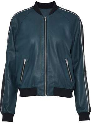 Veda Champion Striped Leather Bomber Jacket
