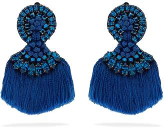 Etro Crystal-embellished fringed clip-on earrings