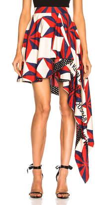 Calvin Klein Printed Asymmetric Ruffle Skirt