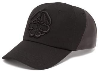 b83da7a00f2 Alexander McQueen Logo Embroidered Leather Panelled Cotton Cap - Mens -  Black