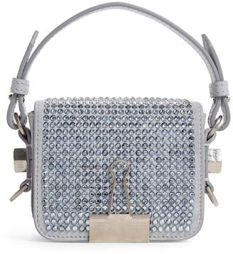 Off-White Off White Baby Binder Clip Crystal-Embellished Bag