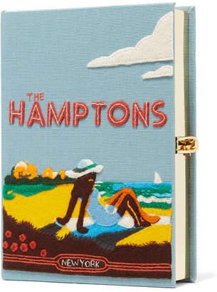 Olympia Le-Tan Hamptons Felt-appliquéd Canvas Clutch - Light blue