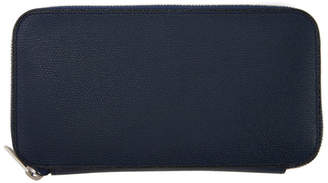 Valextra Navy 12CC Zip Wallet
