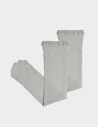 Maria La Rosa Toe Soft Metallic Socks in Silver Polyamide and Lurex