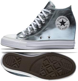 Converse Chuck Taylor All Star Lux Mid Wedge Shoes - Grey - Womens - 7