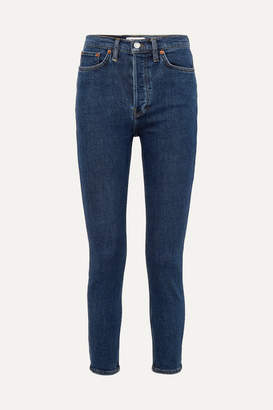 RE/DONE Originals High-rise Ankle Crop Skinny Jeans - Dark denim